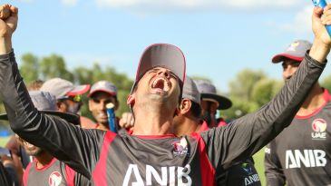 UAE captain Rohan Mustafa lets out a victory scream after winning WCL Division Two