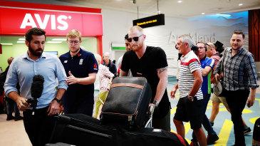 Ben Stokes walks through Auckland airport