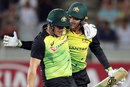Aaron Finch and Alex Carey celebrate Australia's record-breaking win, New Zealand v Australia, Trans-Tasman T20 tri-series, Auckland, February 16, 2018