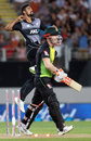 Ish Sodhi punches the air after dismissing David Warner, New Zealand v Australia, Trans-Tasman T20 tri-series, Auckland, February 16, 2018