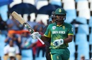 Khaya Zondo celebrates a fifty on a tricky surface, South Africa v India, 6th ODI, Centurion, February 16, 2018