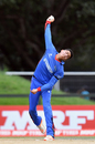 Mujeeb Ur Rahman in his delivery stride, New Zealand v Afghanistan, Under-19 World Cup, quarter-final, Christchurch, January 25, 2018