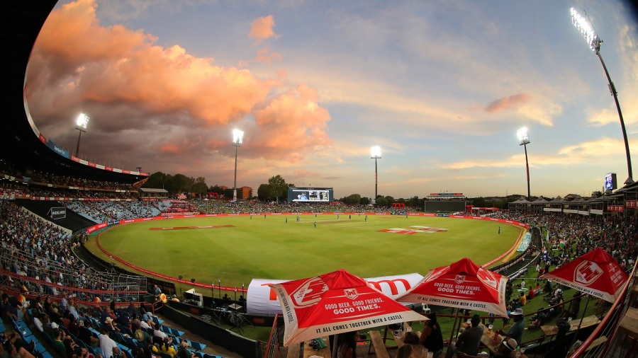 The lights go on as the sun sets over SuperSport Park