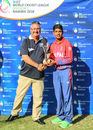 Sandeep Lamichhane accepts the Player of the Tournament award after taking 17 wickets, Nepal v UAE, ICC World Cricket League Division Two, Final, Windhoek, February 15, 2018