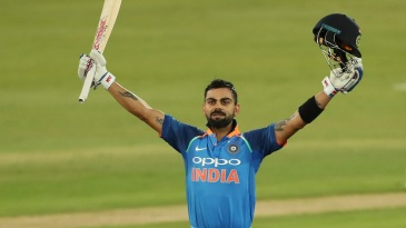Virat Kohli celebrates his 35th ODI hundred