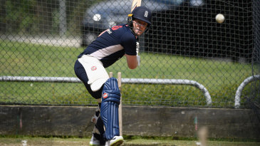 Eoin Morgan batted in the nets after recovering from a groin strain