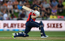 Eoin Morgan launches a slog-sweep on his way to fifty, New Zealand v England, Trans-Tasman T20 tri-series, Hamilton, February 18, 2018
