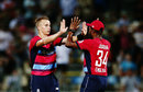 Tom Curran closed out victory from the final ball, New Zealand v England, Trans-Tasman T20 tri-series, Hamilton, February 18, 2018