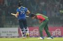 Soumya Sarkar roars after dismissing Danushka Gunathilaka, Bangladesh v Sri Lanka, 2nd T20I, Sylhet