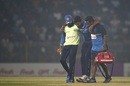 Shehan Madushanka is helped off the field, Bangladesh v Sri Lanka, 2nd T20I, Sylhet