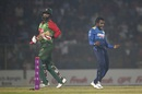 Amila Aponso celebrates the wicket of Tamim Iqbal, Bangladesh v Sri Lanka, 2nd T20I, Sylhet
