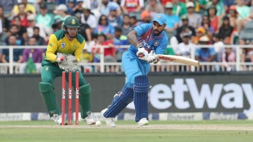 Shikhar Dhawan turns the ball towards the leg side