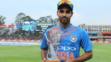 Bhuvneshwar Kumar was named Man of the Match for his five wickets