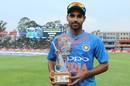 Bhuvneshwar Kumar was named Man of the Match for his five wickets, South Africa v India, 1st T20I, Johannesburg, February 18, 2018