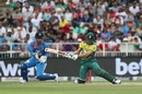 Farhaan Behardien attempts a reverse sweep, South Africa v India, 1st T20I, Johannesburg, February 18, 2018