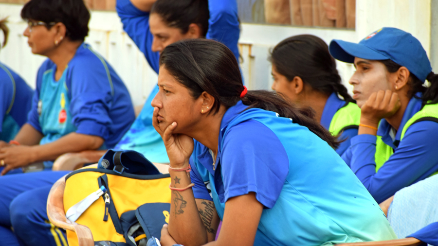 Rumeli Dhar looks on from the dugout