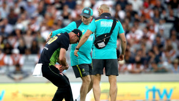 Chris Lynn suffered a dislocated shoulder while fielding