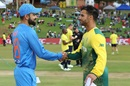 Virat Kohli and JP Duminy shake hands at the toss, South Africa v India, 2nd T20I, Centurion, February 21, 2018