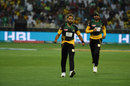 Imran Tahir celebrates a wicket with Shoaib Malik in chase, Peshawar Zalmi v Multan Sultans, PSL 2018, Dubai, February 22, 2018