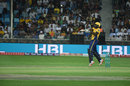 Darren Sammy slaps one over cover, Peshawar Zalmi v Multan Sultans, PSL 2018, Dubai, February 22, 2018