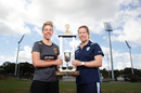 Western Australia captain Elyse Villani and New South Wales captain Alex Blackwell pose with the WNCL trophy ahead of the final, Sydney, February 23, 2018