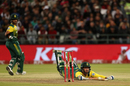 Christiaan Jonker puts in a dive to make his ground, South Africa v India, 3rd T20I, Cape Town, February 24, 2018