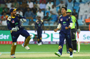 Sarfraz Ahmed and Hasan Khan celebrate a wicket, Lahore Qalandars v Quetta Gladiators, PSL 2018, Dubai, February 24, 2018