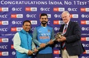 Virat Kohli receives the Test mace from Sunil Gavaskar and Graeme Pollock, Cape Town, February 24, 2018