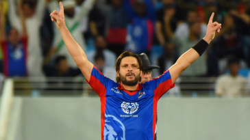 Shahid Afridi goes through his trademark celebratory routine