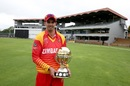 Graeme Cremer poses with the World Cup qualifier trophy, Bulawayo