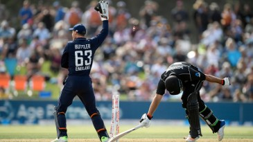 Colin de Grandhomme fails to make his ground after a needless second run