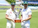 Faf du Plessis and Steven Smith pose with the Test series trophy, Durban, February 28, 2018
