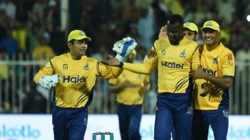 Darren Sammy celebrates a wicket