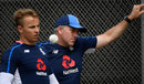 Tom Curran and England bowling coach Chris Silverwood, Wellington, March 1, 2018