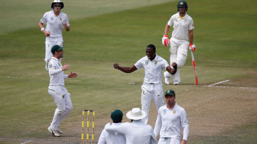 Kagiso Rabada roars after making the breakthrough in the morning