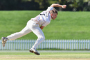 Logan van Beek bowls during a Plunket Shield match, March 30, 2017, Christchurch