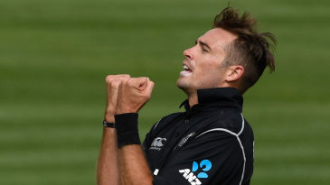 Tim Southee celebrates after making a breakthrough