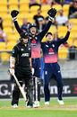 Mark Chapman endured a brief innings, New Zealand v England, 3rd ODI, Wellington, 3 March, 2018