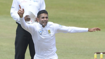 Keshav Maharaj celebrates a breakthrough