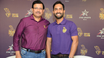 Kolkata Knight Riders CEO Venky Mysore shares the stage with the side's newly appointed captain Dinesh Karthik