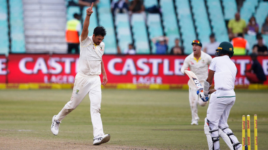 Mitchell Starc roared in to remove the tail