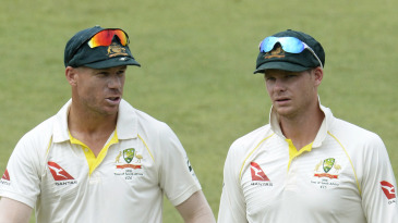 Steven Smith and David Warner walk off the field