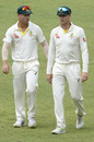 Steven Smith and David Warner walk off the field, South Africa v Australia, 1st Test, Durban, 5th day, March 5, 2018