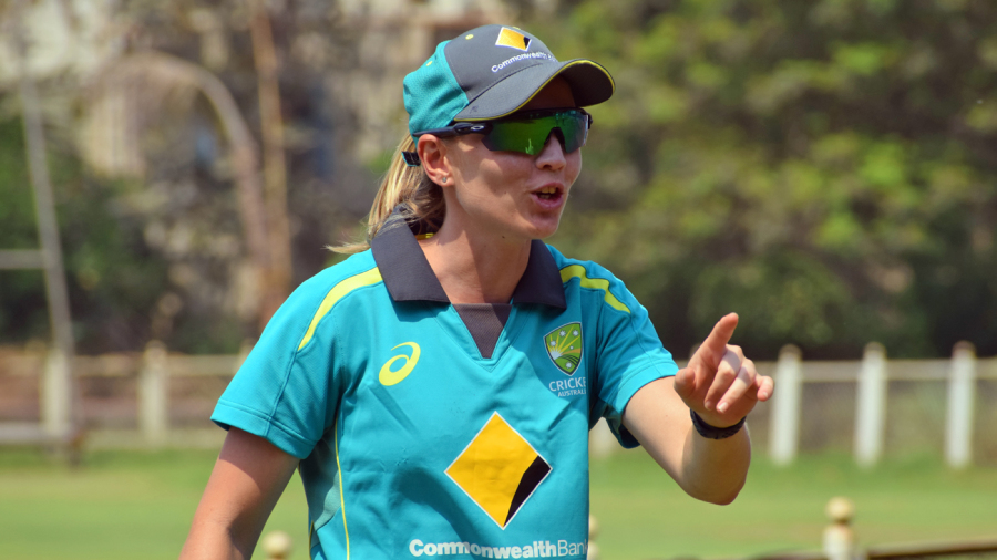 Meg Lanning engages in some banter with team-mates during training