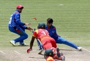 Rashid Khan caught Tendai Chatara short of his ground, Zimbabwe v Afghanistan, Bulawayo, March 6, 2018