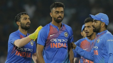 Jaydev Unadkat is mobbed by his team-mates