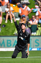 Mitchell Santner endured a difficult day in the field, New Zealand v England, 4th ODI, Dunedin, March 7, 2018