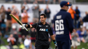 Ross Taylor brings out the trademark hundred celebration