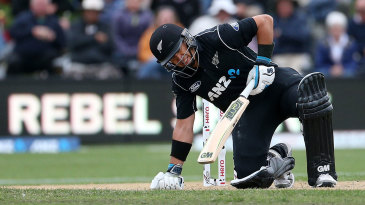 Ross Taylor struggles to stay on his feet