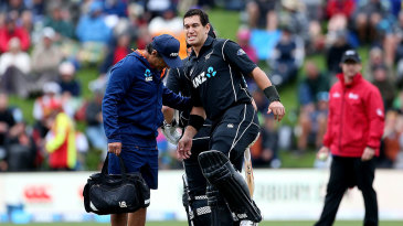 Ross Taylor gets treatment during his century